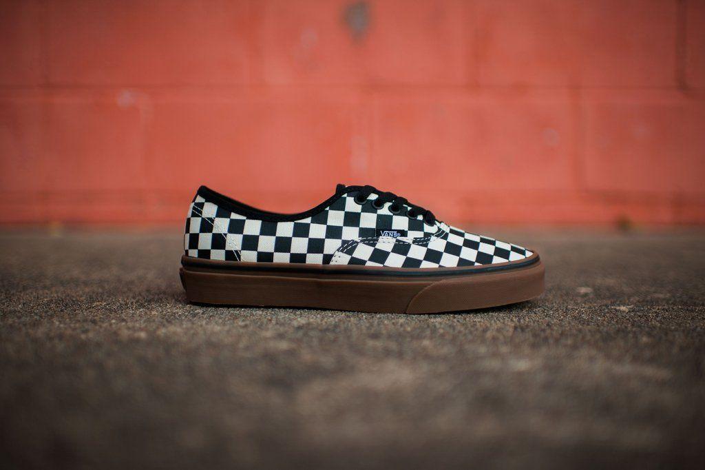 Vans Authentic Checkerboard (Black/White/Gum) | Rock City Kicks ...