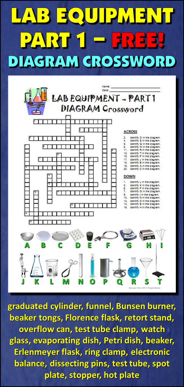 Lab Equipment Crossword with Diagram Part 1 FREE
