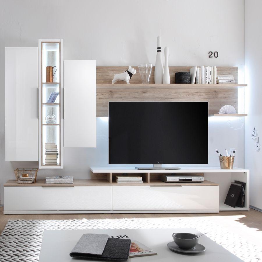 Wohnwand Salandra 5 Teilig Hochglanz Weiß Eiche Sanremo Dekor Wohnwand Weiß Hochglanz Wohnwand Weiss Wohnwand Modern