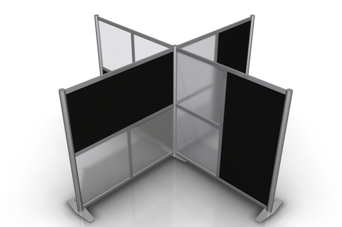 Modern office partitions and room dividers - 100 L X100 W X 51 H T Shaped Quad Office Partition Black Translucent