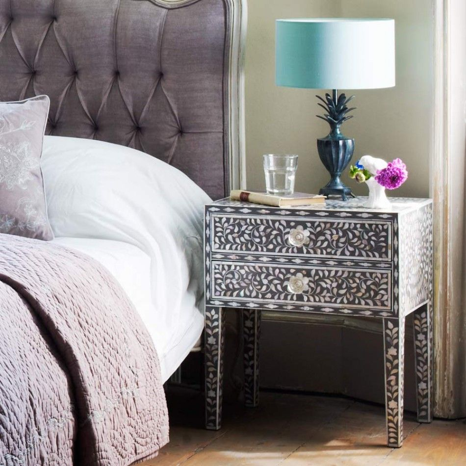 Captivating Alternative Bedside   Maxi Mother Of Pearl Side Table In Grey