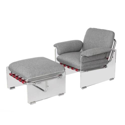 Pace Collection Lucite Chrome Arm Chair Lounge Ottoman Mid Century Modern In Antiques Periods Styl Chair And Ottoman White Leather Dining Chairs Ottoman Set