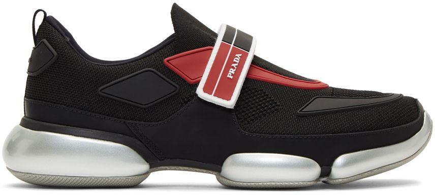 fa8b2b8241 Prada - Baskets en maille noires et rouges Cloudbust   Shoe ...