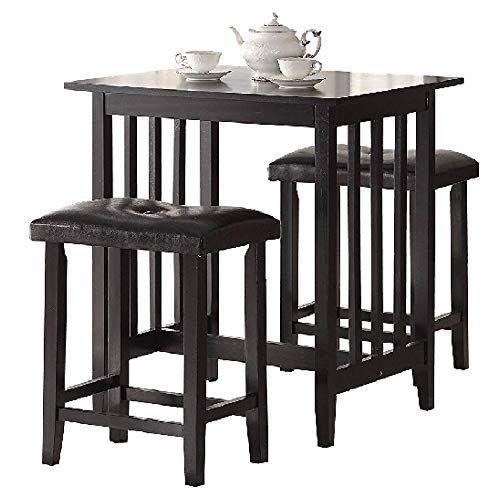 Admirable Pub Table Set 3 Black Wooden Kitchen Island Breakfast Dining Machost Co Dining Chair Design Ideas Machostcouk