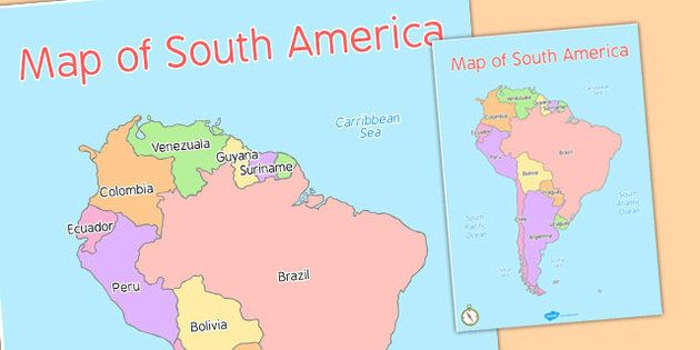 Map of South America - map, south, america, continent, countries - new world map to print ks1