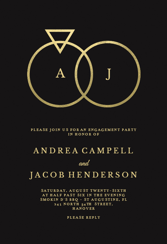 Connected Rings Engagement Party Invitation Template Free Greetings Island Free Engagement Party Invitations Templates Engagement Party Invitations Diy Engagement Invitation Cards