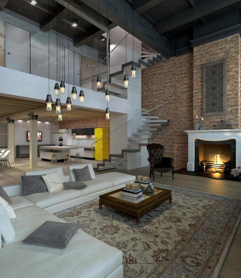 Loft éclectique avec cheminee de style | Loft industriel, Rendu et ...