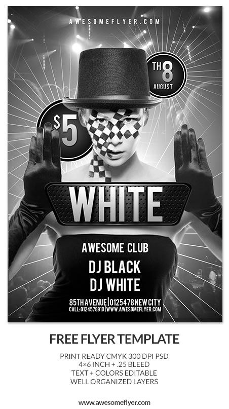 Free Black And White Club Psd Flyer Template Http://Www