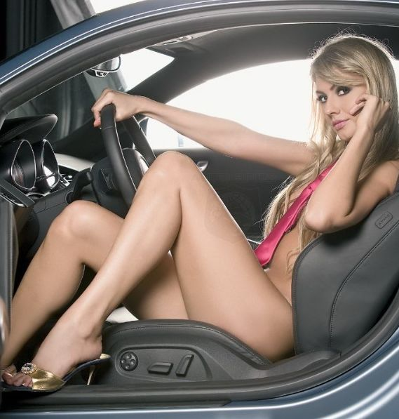 sexy girl driving sexy car