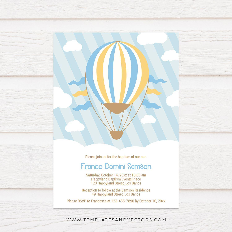 hot air balloon ride baptism invitation