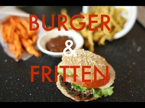 Rohkost Rezept: Vegane Burger mit Pommes Frites und Ketchup - YouTube