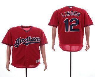 9c7d0504078 Men s Cleveland Indians  12 Francisco Lindor Red Stitched MLB Cool Base  Jersey