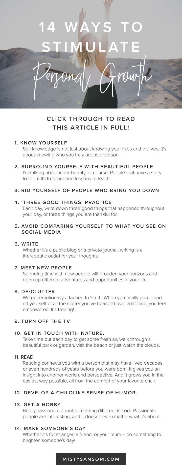 14 Ways to Stimulate Personal Growth — Misty Sansom #lifegoals