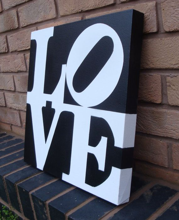 LOVE Handmade Stencil Painting on Canvas Perfect by Ramart79, etsy