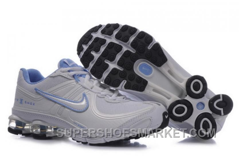 Nike Shox R4 White/Grey/Light Blue Shoes For Women