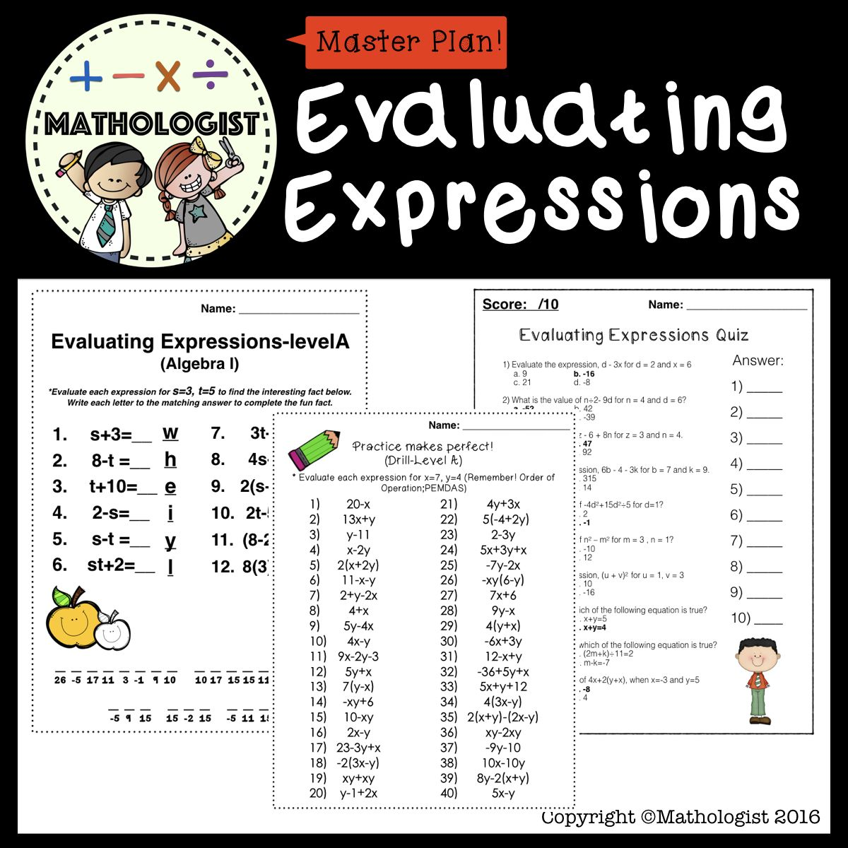 Order of Operations, Evaluating ExpressionsLEVEL A