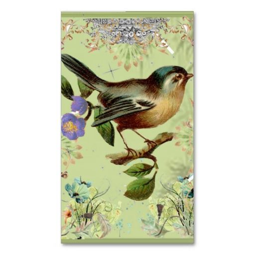 Vintage green bird and pink elegant ribbons business card