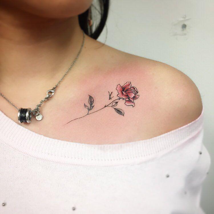 51 Real Pink Rose Tattoos Pink Rose Tattoos Collar Tattoo Collar Bone Tattoo Small