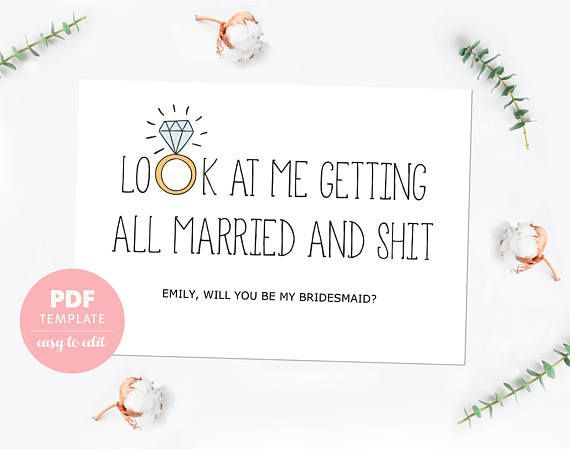 Bridesmaid Proposal Card Funny Bridesmaid Template Card Made