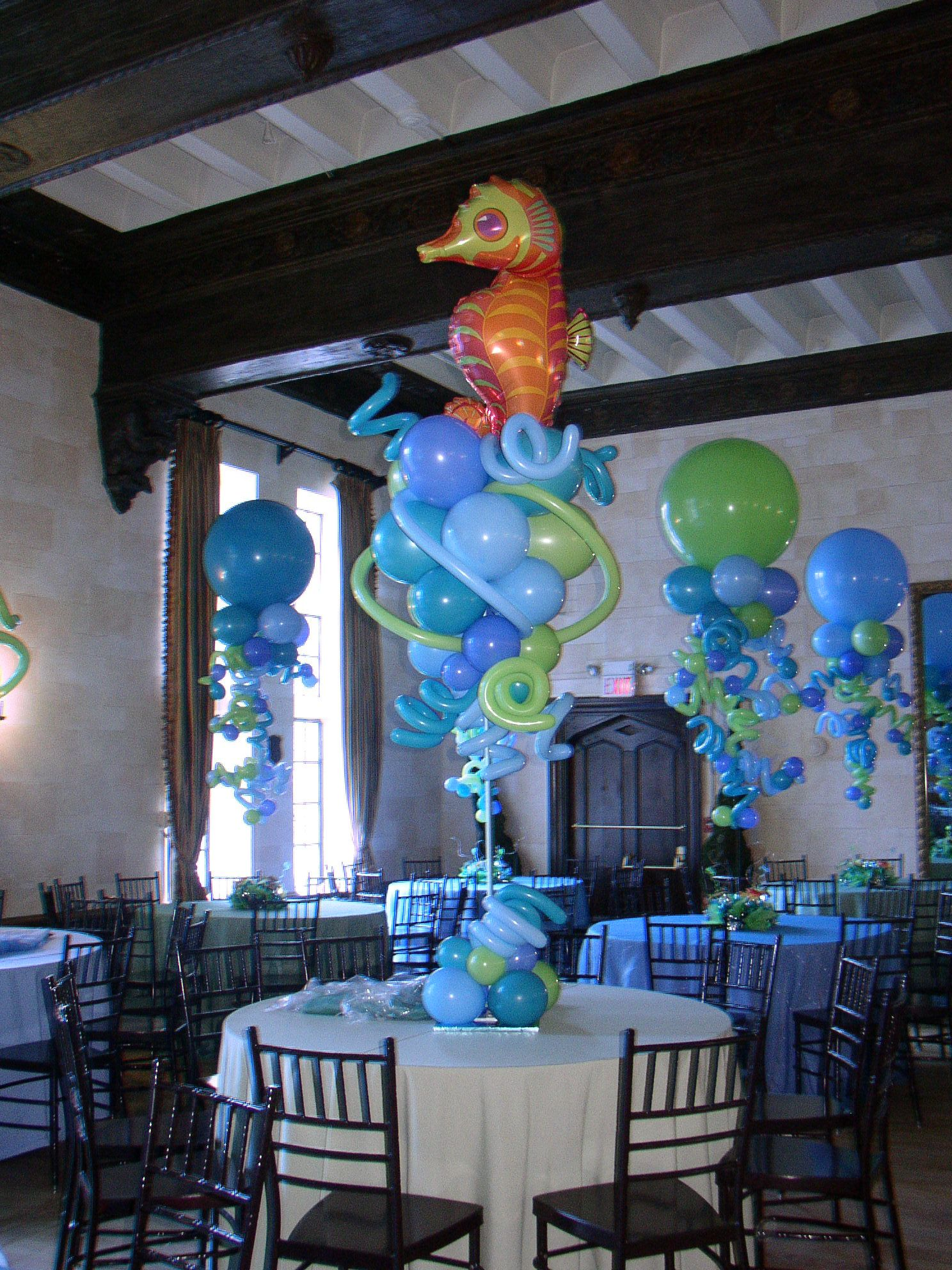 Underwater Theme Bat Mitzvah Decor With Balloon Topiaries Funky Flowers In The Background