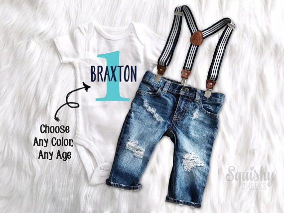 First Birthday Outfit Boy 1st Birthday Personalized Top Distressed Denim Suspender Pants or Shorts Boy Smash Cake Outfit Boy Photo Outfit