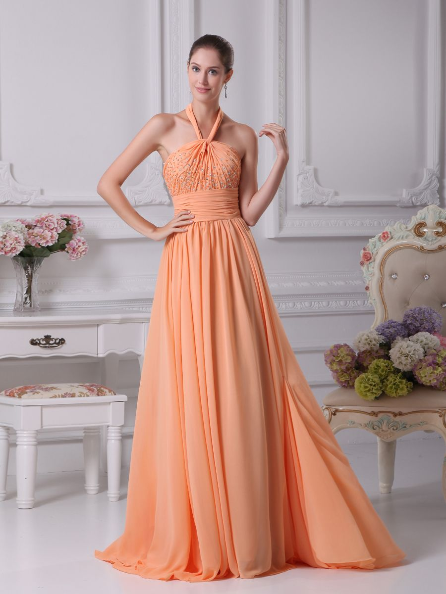 Halter straps chiffon prom dress with beading on top brands