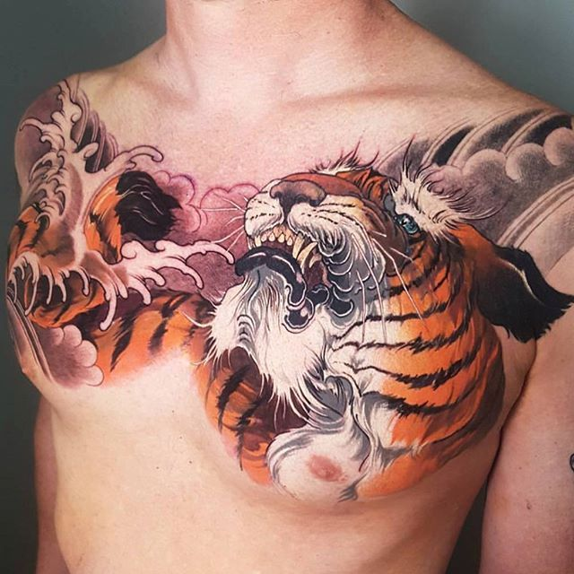Tiger Tattoo On Chest Done By Artist Nicknoonantattoo Asian Inkandart Artist Asian Inkandart Japanese Tiger Tattoo Tiger Tattoo Tiger Tattoo Design