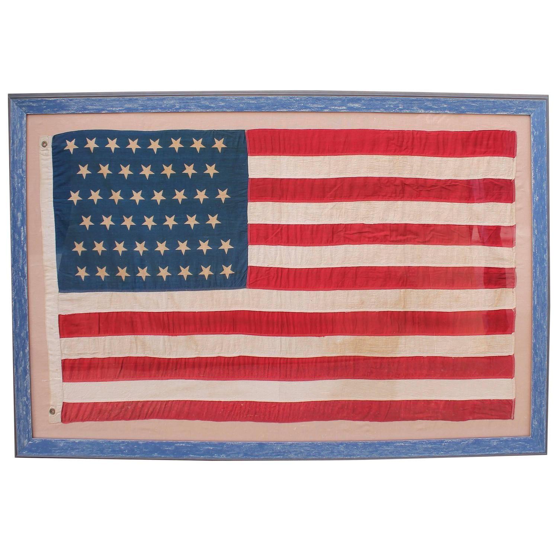 Monumental 46 Star Framed American Flag From 1909 1stdibs Com Framed American Flag Framed Flag American Flag