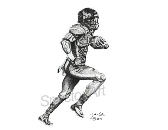 Running Nfl Football Players Drawings: Unique Graphite Illustration Of West Virginia And Current