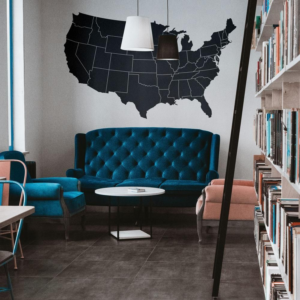 USA Map Silhouette w/Borders Vinyl Wall Decal in 2020