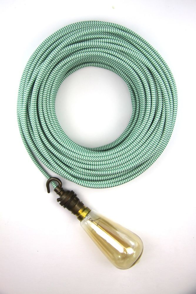 green white fabric electrical cloth textile cord double insulated 3 ...
