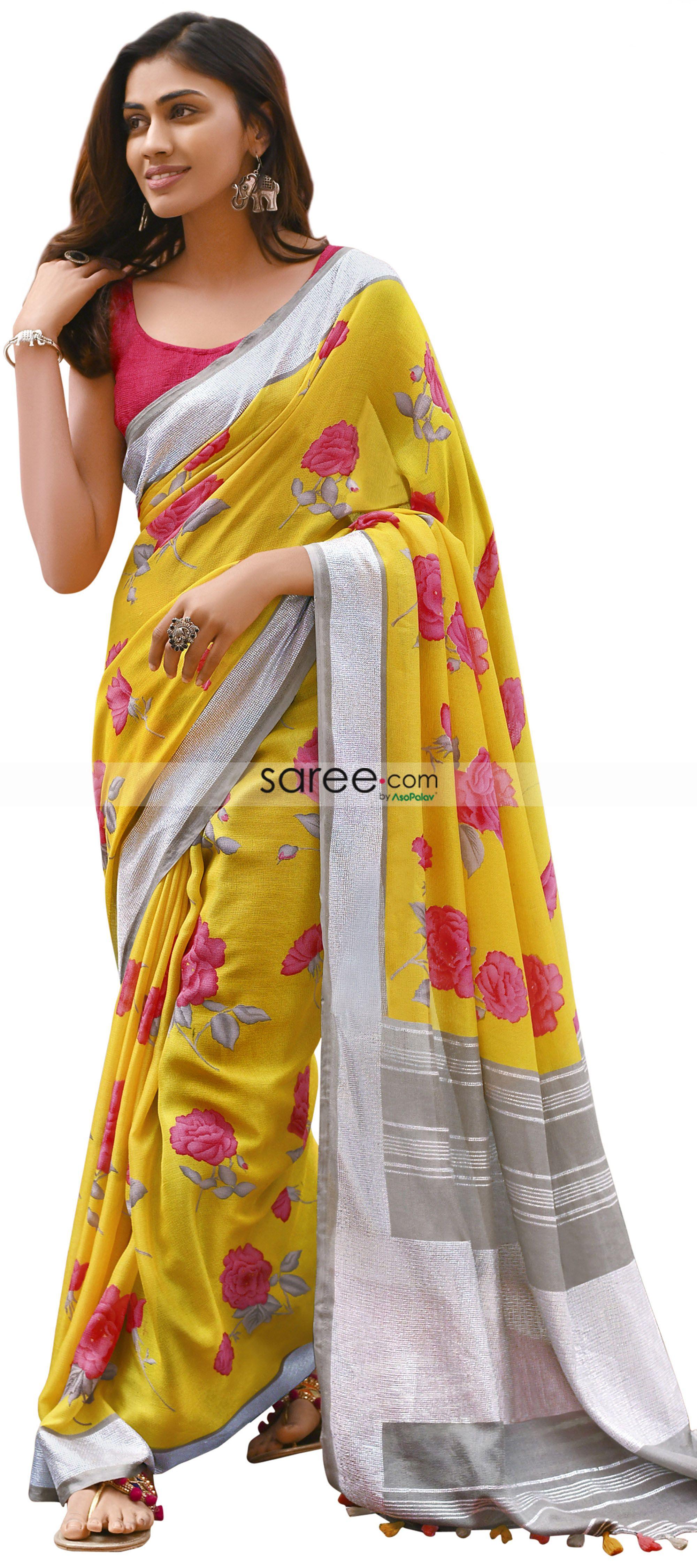 Yellow Bollywood Linen Silk Saree Indian Pakistani Designer Sari
