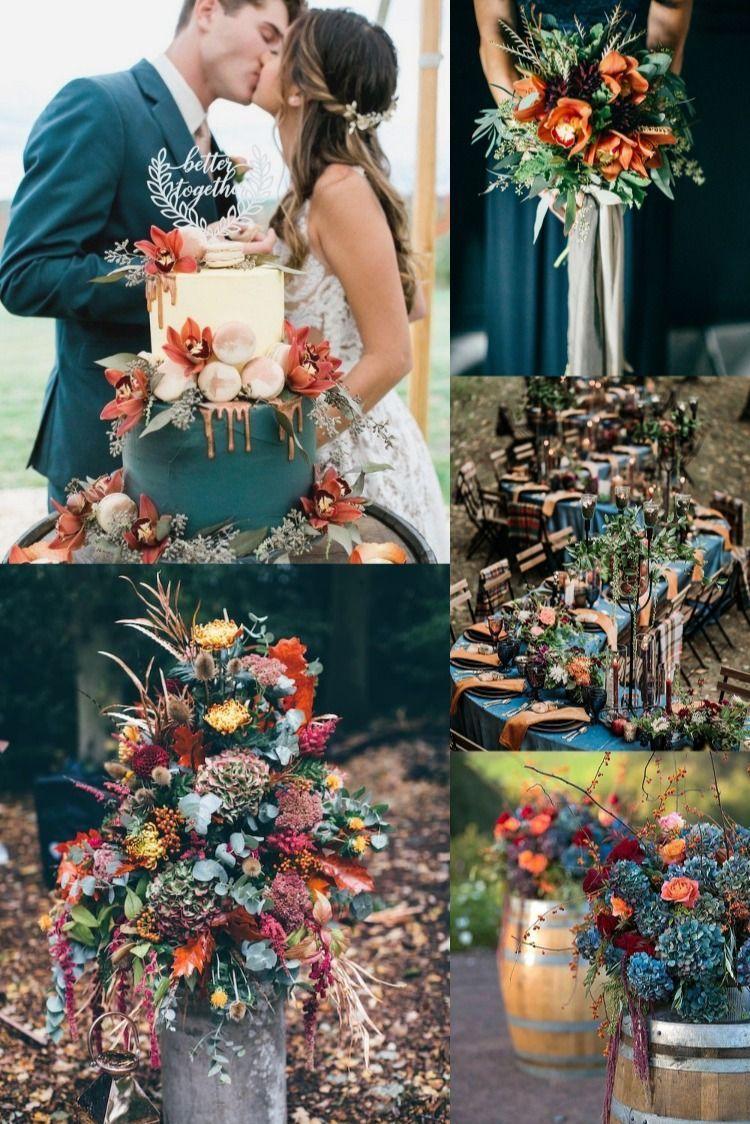 20 Dark Teal and Rust Orange Wedding Color Ideas for Fall in 2020 |  September wedding colors, Wedding colors, Wedding theme colors