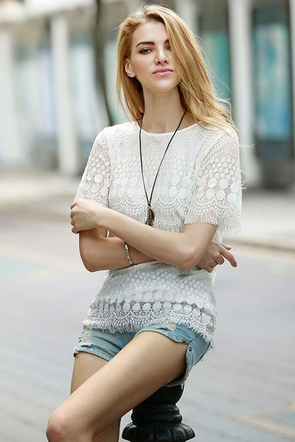 White Round Neck Short Sleeve Lace Top