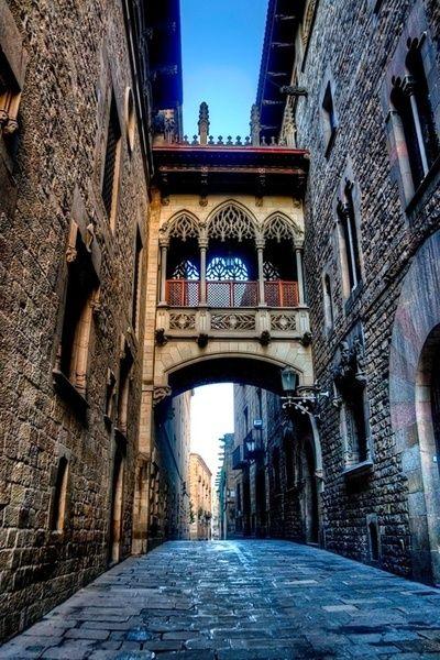 Ancient Bridge, Barcelona, Spain.