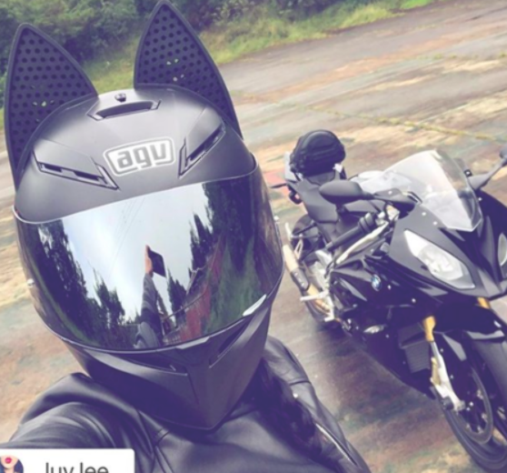 Black Agv Motorcycle Helmet With Black Cat Ears And Mirror Tint