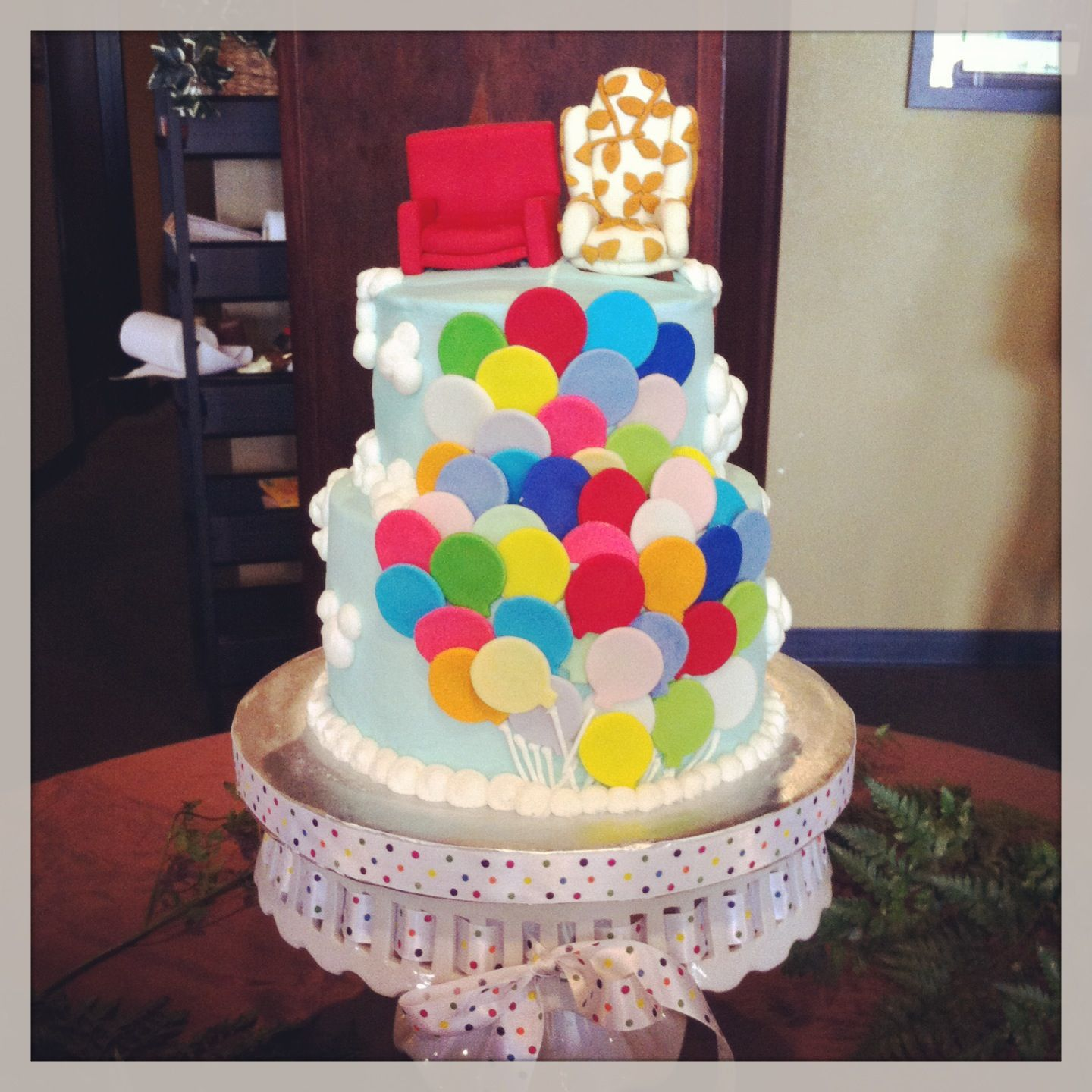 Engagement Party Idea Up Themed Wedding Cake From Disney Pixar Film With Miniature Carl And Ellies Chairs As A Topper