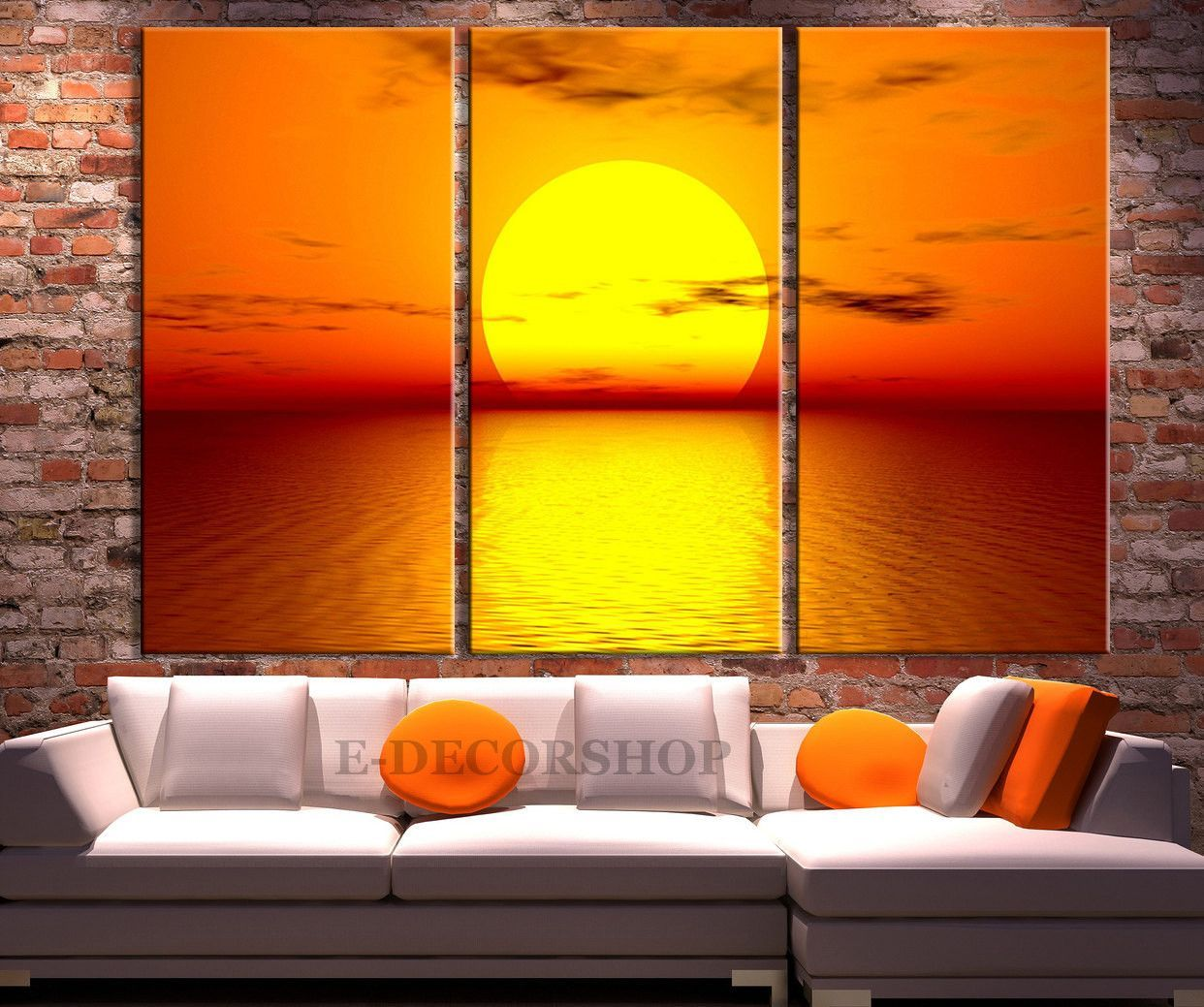 Large Wall Art Red Sun and Sunset on Sea Canvas Art Prints For Wall ...
