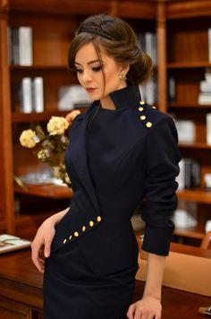 Office Women Suit With Straight Skirt, Wrap Asymmetric Blazer Jacket | Milla