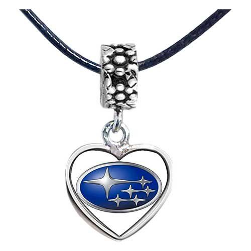 43e44b1e9 Chicforest Silver Plated Subaru car logo Flower Photo Dangle Heart Charm  Beads Fits Pandora Bracelets Chicforest