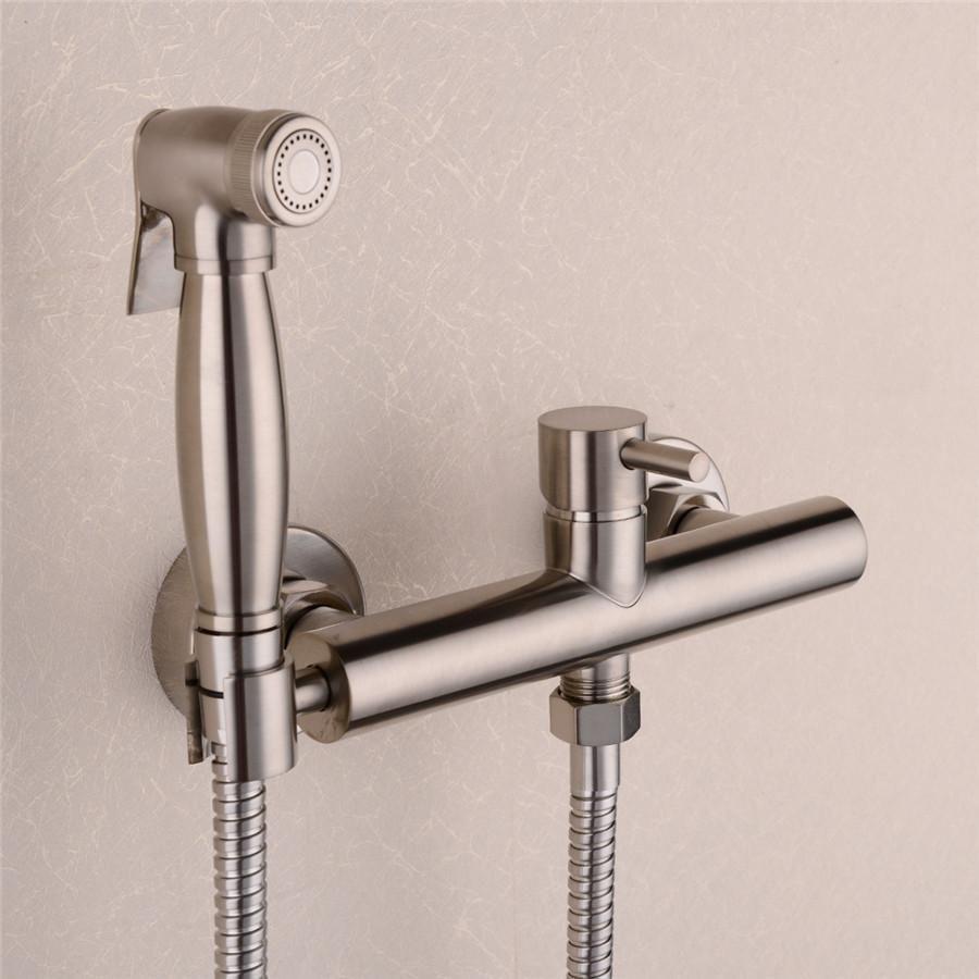Brass Nickel Toilet Bidet Spray Hot Cold Mixer Valve With Hose