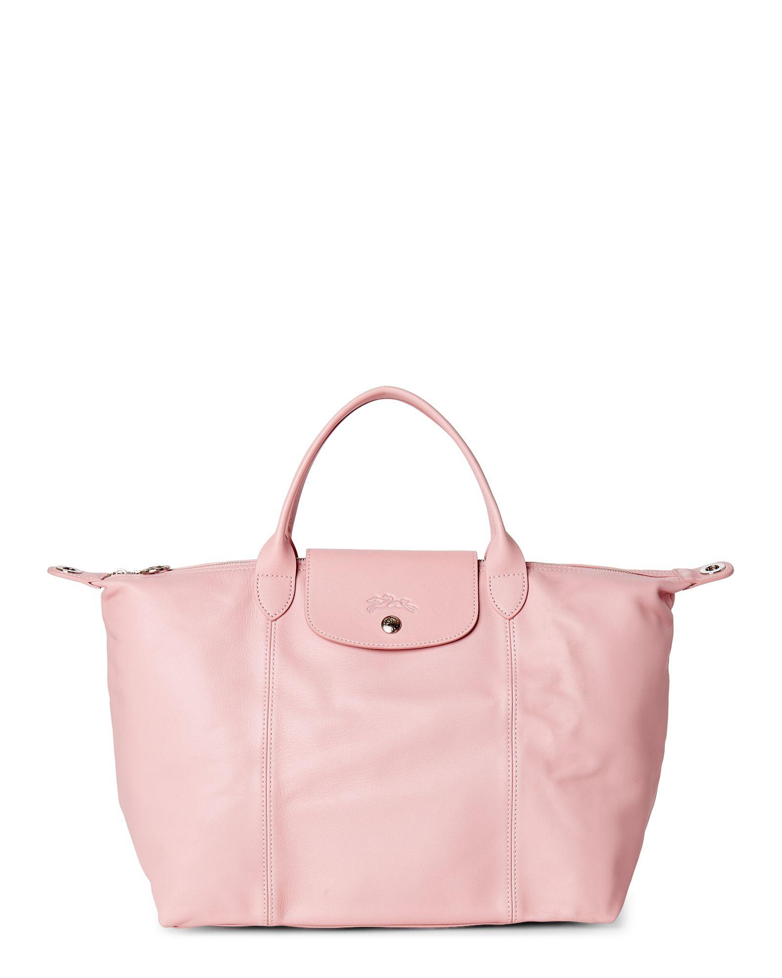 Longchamp Powder Pink Le Pliage Cuir Medium Satchel | Longchamp le ...