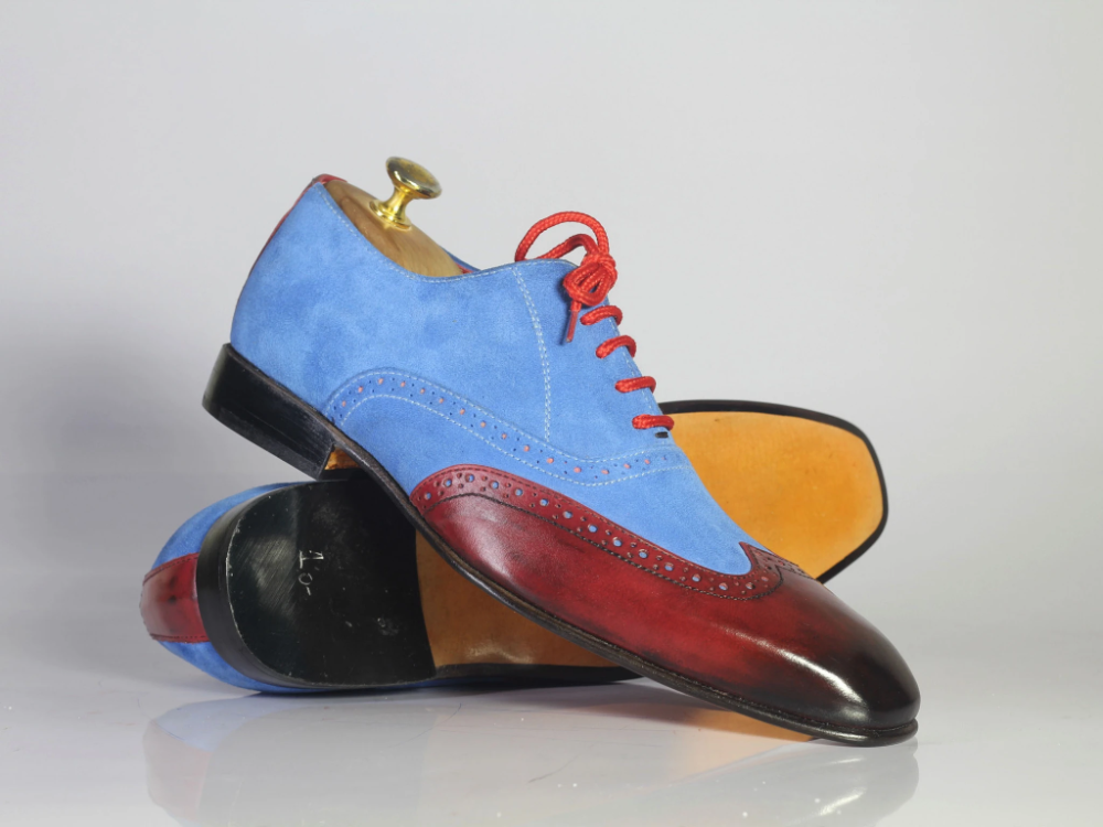 #men #handmade #leather #suede #blue #burgundy #laceup #handmadeshoes #bespoke #derbyshoes #designershoesforless #fashionshoes #oxfordshoes – theleathersouq