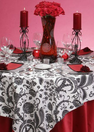 Flowers Reception Centerpiece Decor Table Setting Events by keri & Photo via | White centerpiece Centerpieces and Red black