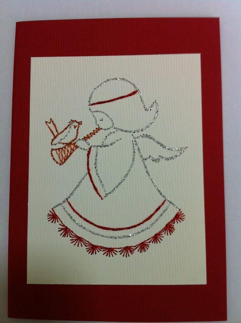 Новогодняя открытка колокольчики изонить