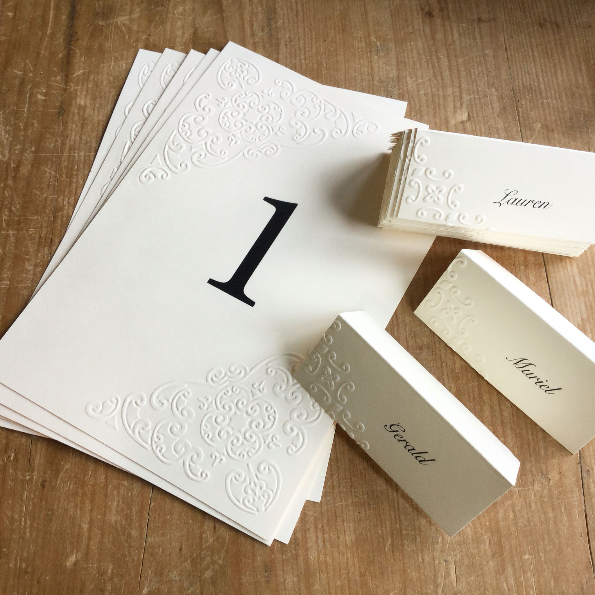 Embossed place and table cards.