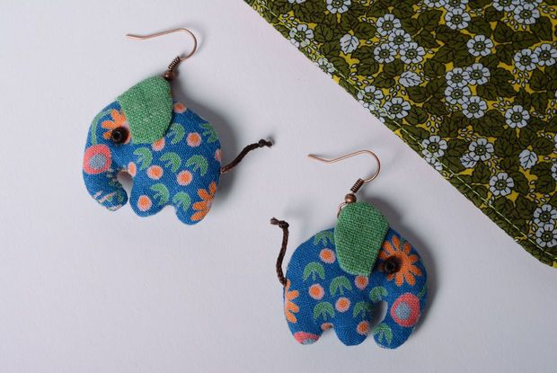 Homemade jewelry Cool textile earrings Elephants Vintage women's accessories