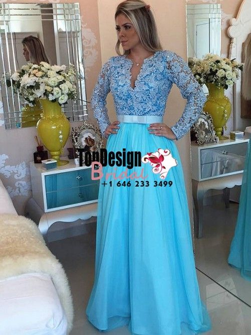 Wholesale Vestidos De Fiesta New 2017 A-Line/Princess Long Sleeves V-neck Tulle Applique Blue Prom Party Dresses
