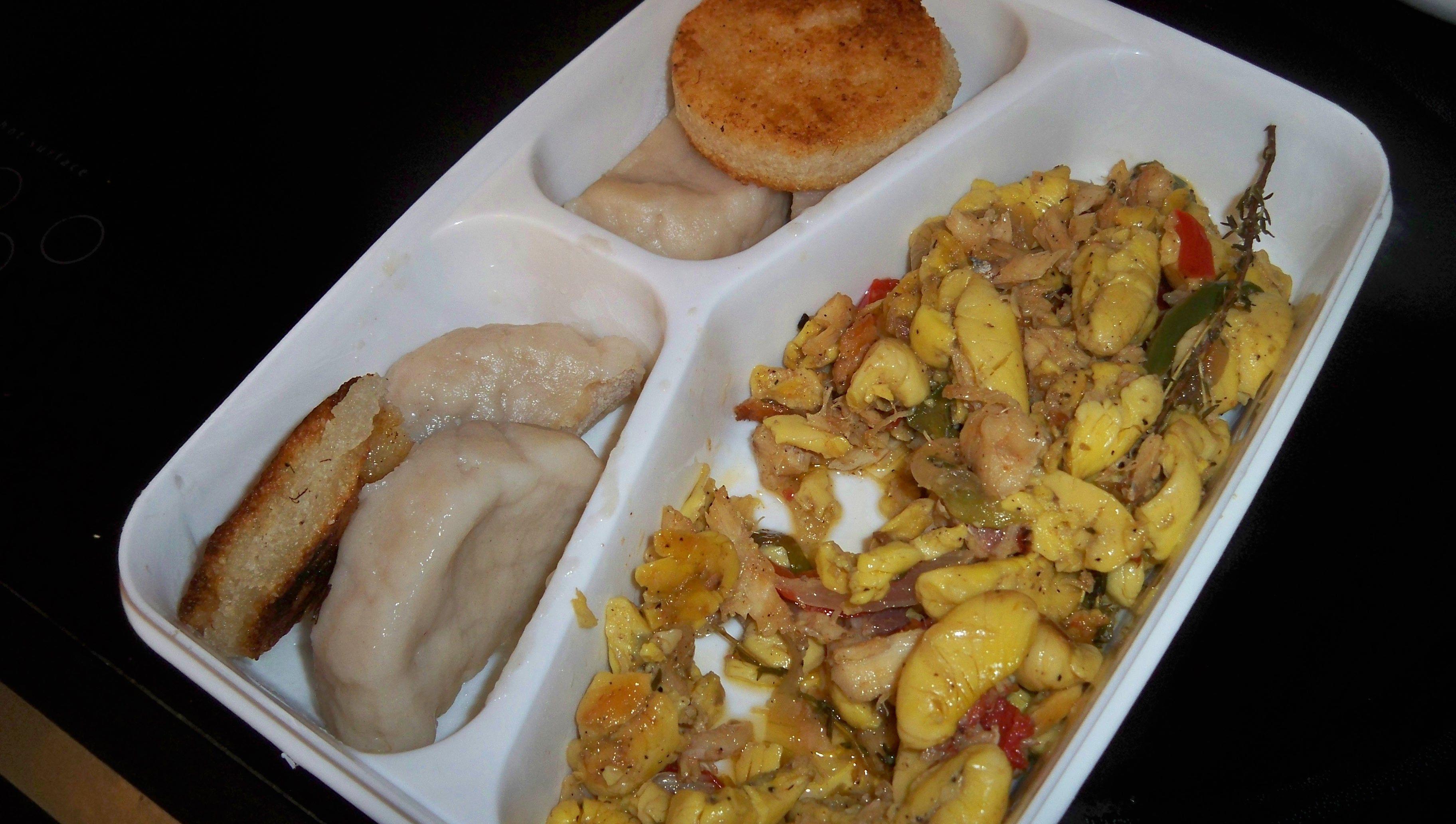 jamaican breakfast  ackee and saltfish boiled dumplings