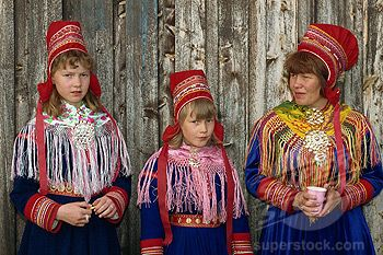 Portrait Of Sami Girls And Woman Lapps In Traditional Costume For Indigenous Tribes Meeting At Karesuando Sweden Scandinavia Europe Stock Photo 1890 29576 Women 3 People Costumes Costumes For Teens